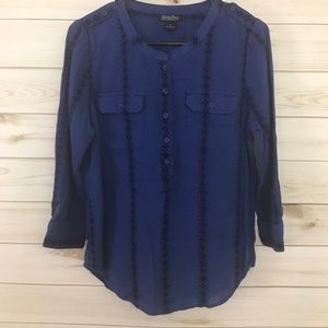 Lucky Brand Blue Pattern Button Down Pullover Top